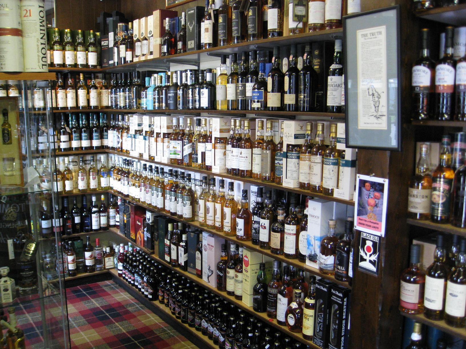 Een klein whisky winkeltje